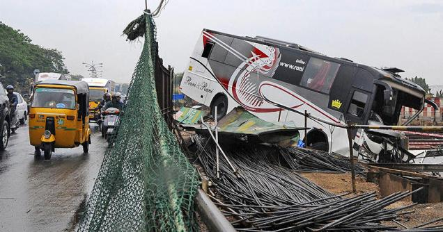 Omni bus crashes into CMRL site